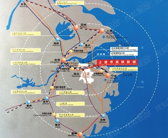 上虞高铁新城辐散周边的一小时经济圈