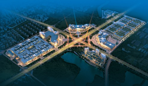 现代化的南翔万商国际商贸城鸟瞰效果图
