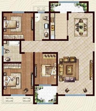 c2户型  三室两厅两卫  面积约127.98平米