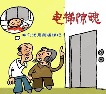卡通电梯矢量图