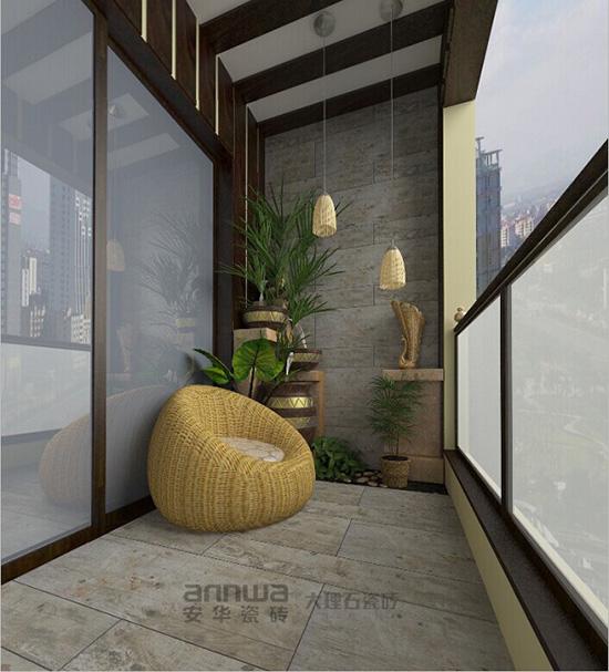 安華瓷磚仿木紋磚 加勒比香檀陽臺裝修效果圖