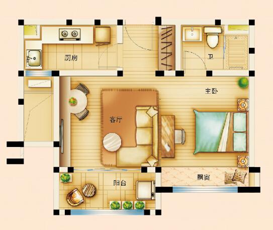70平方套房子设计图