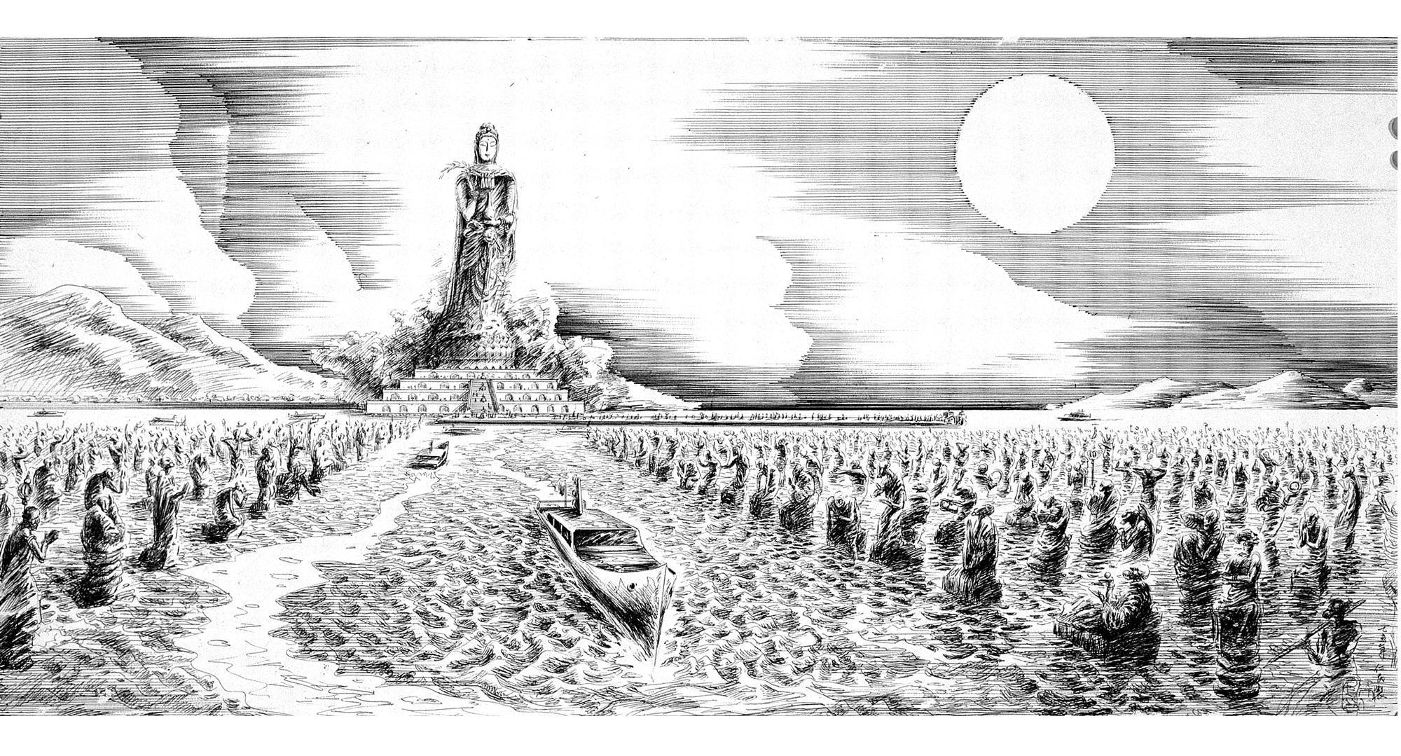 朱仁民创作的圆珠笔手绘莲花岛大观音工程鸟瞰图