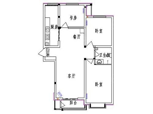 户型为三室两厅一厨一卫经典户型,户型方正,南北通透