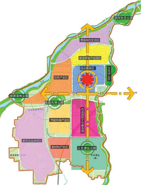 沣西新城规划图 高清图片