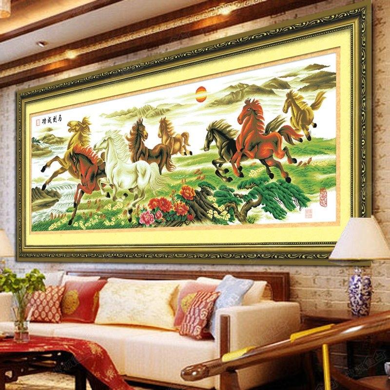 客厅十字绣图案大全 艺术背景墙突显文化韵味