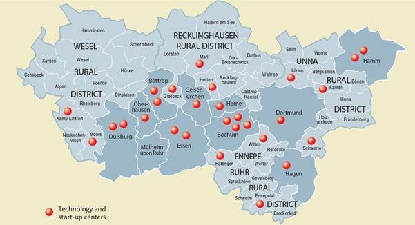 鲁尔区技术中心和创业中心分布