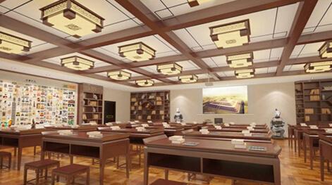 国际化,现代化的教室之外,特意采用中式设计布置了书法教室和历史教图片
