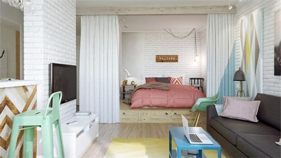 45平公寓的艺术格调 简约而不单调空间 /组图