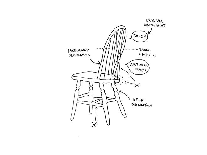 室内手绘线稿桌椅