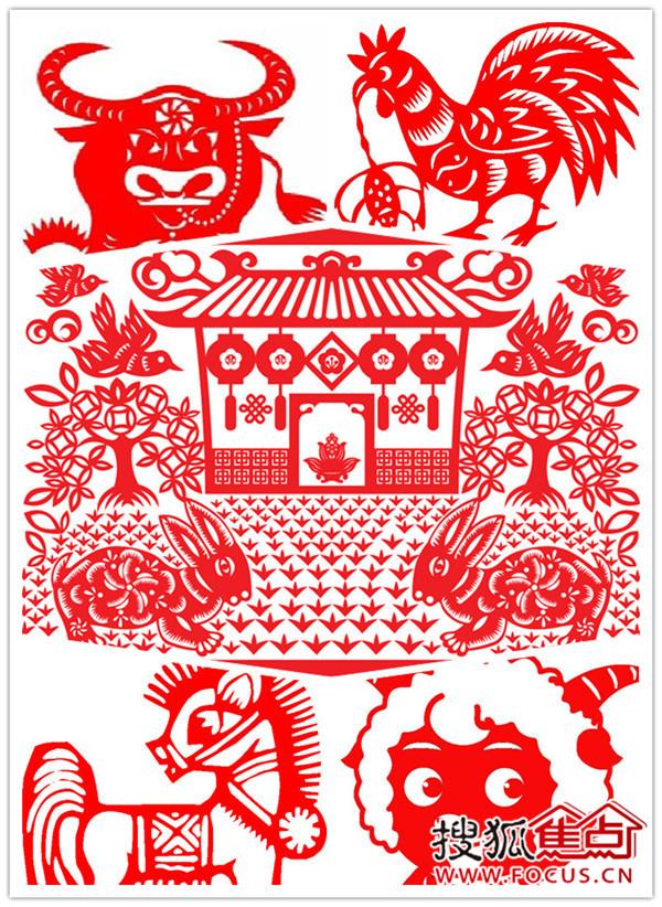 欢声笑语辞旧岁,万象更新迎新年,剪窗花:小兔子,小山羊,小猪