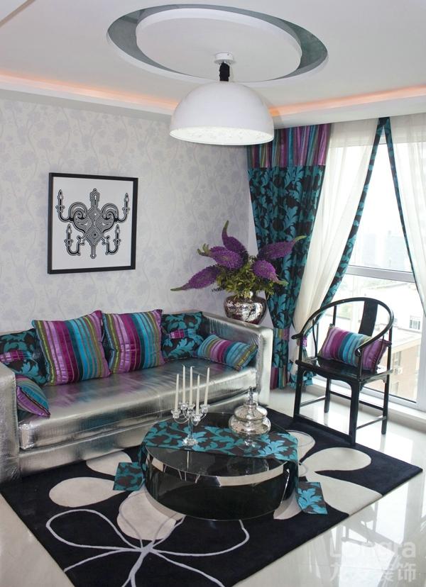 时尚大不同 85平两居混搭风格样板间家装效果图高清图片