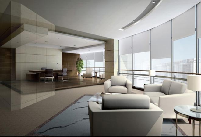 效果图一         办公室是用来工作的地方,在设计装修时与家庭装修有