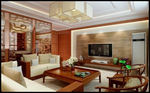 走道,餐厅电视机背景墙,棕色的实木印衬着柔美的灯光使整个空间中式元图片