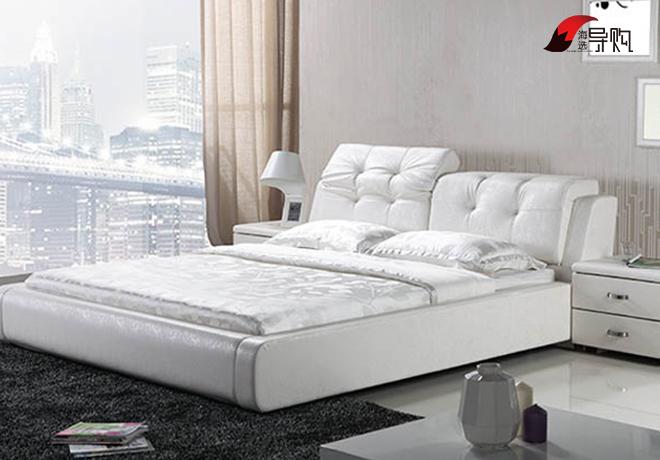 掌上明珠家具现代简约真皮软床-120平三室一厅 PK 93平两室两厅 中西图片