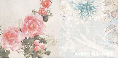 一簇簇色彩缤纷的牡丹花盛开在墙壁上,仿佛一副水墨画一般精致,淡雅.