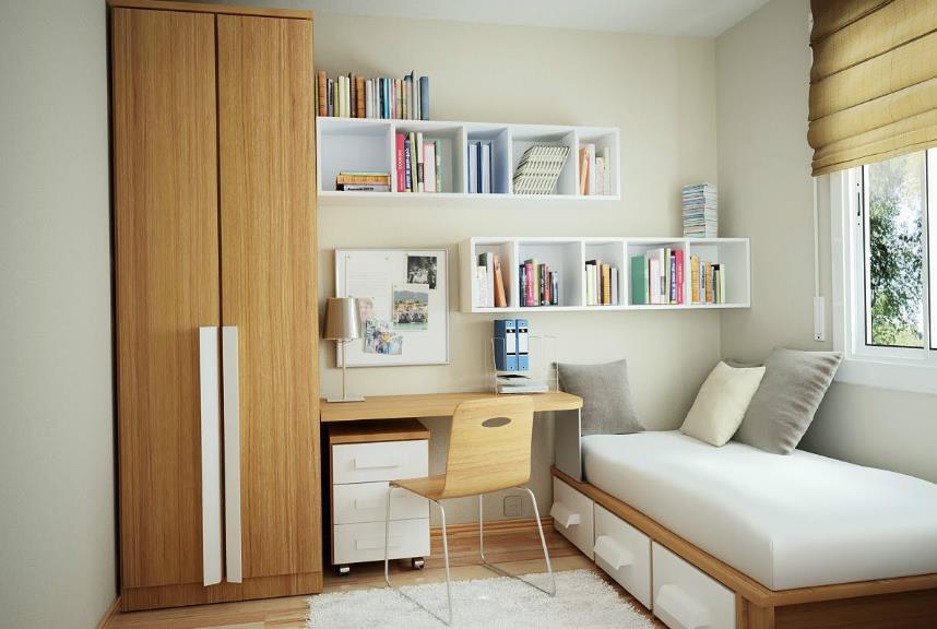 由于6平米小卧室的采光比较有限,在墙面的颜色上要选择比较明亮图片