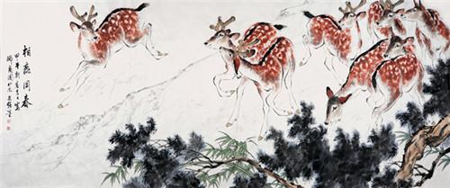 国画家王文强动物画作品《柏鹿同春》