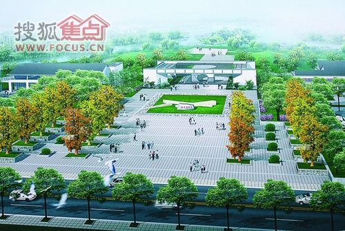 公园大门广场手绘平面图