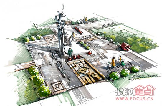 广场效果图 手绘