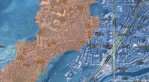 google卫星地图上剪切的彭家湾周边地形图,黄色部分为彭家湾改造区的