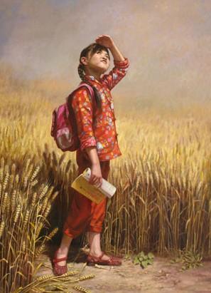 刘学文油画作品《田野上的希望》