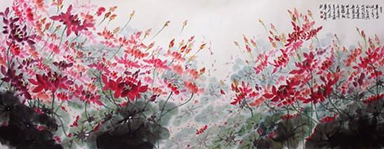 白世杰国画作品《接天莲叶》