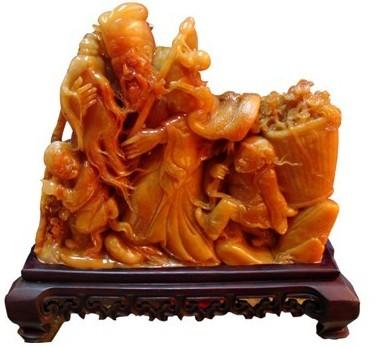 巴林福黄石 雕件 寿仙