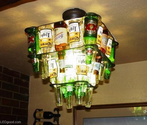 灯不醉人人自醉 充满酒文化的美酒酒瓶吊灯图片