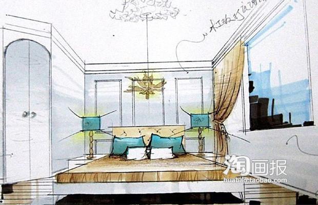 卧室手绘图卧,室整体效果清爽地中海2居.