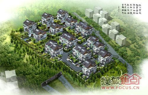 中式园林鸟瞰图手绘