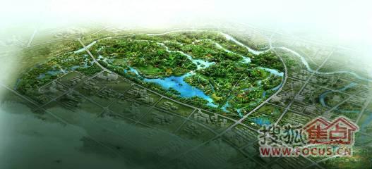 洋湖垸湿地公园鸟瞰图