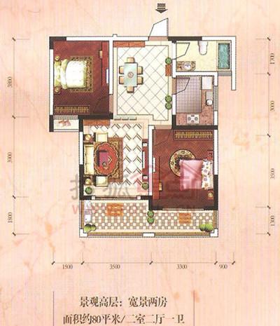 东部星城东区两室两厅80平米户型