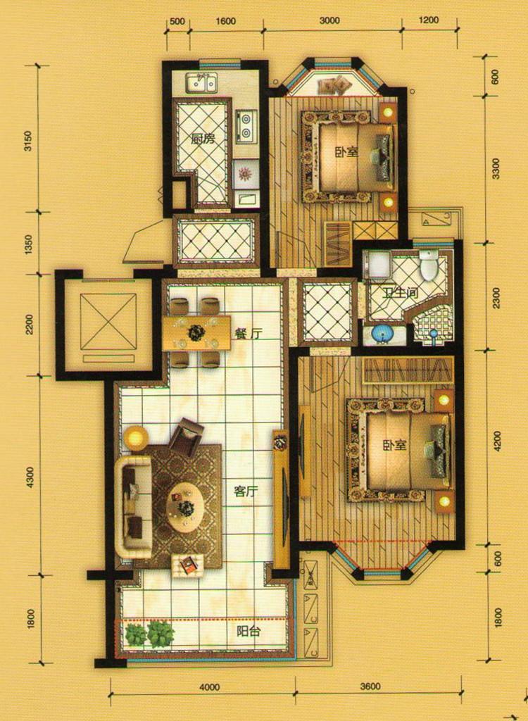 b户型三室两厅一卫约100平米