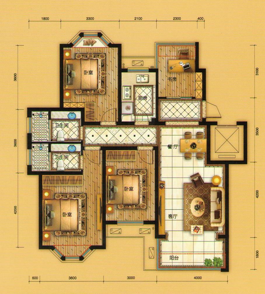 f户型四室两厅两卫约135平米