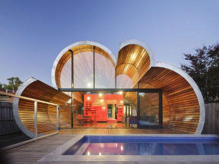 澳大利亚墨尔本云形木结构拱形住宅