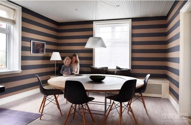北欧味道,在很多地方使用了壁纸,比如餐厅区域的条纹,客厅不同局域