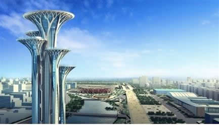 北京奥林匹克公园瞭望塔遭网友吐槽像极五颗大钉子