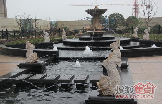 方形水景喷泉手绘