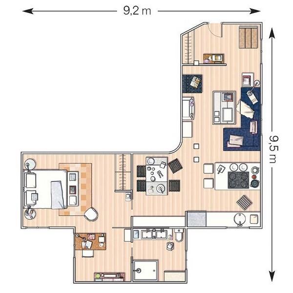 小户型的精彩 3款40-50平米家居设计(图)