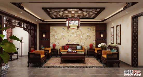 中式装修书柜影视墙