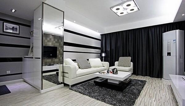 黑白条纹装饰的背景墙
