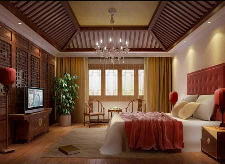 中式风格卧室背景墙 古典不失浪漫(组图)