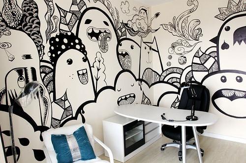 咖啡小姐的手绘墙 多姿多彩又创意无限--组图图片