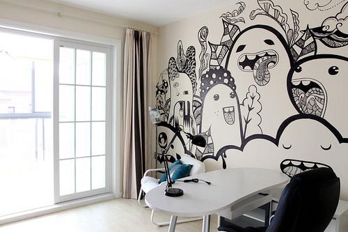 咖啡小姐的手绘墙 多姿多彩又创意无限--组图