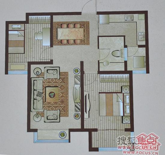 四喜讲户型之中央生活城两居室H户型点评