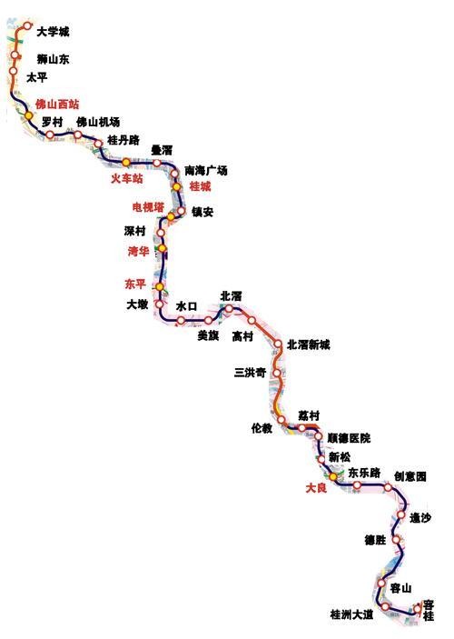 佛山 三号线将与7条地铁线换乘图片