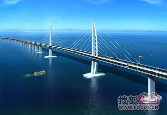 港珠澳大桥示意图-中海银海湾 珠港澳都市圈豪宅高地