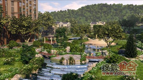 外侧景观设计有半圆形花坛景观,艳丽的花朵和河边的垂柳遥相呼应,