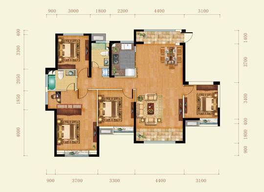 星河荣御洋房153㎡户型图   星河荣御的户型设计分区明显高清图片